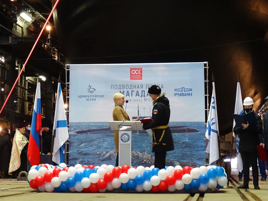 Торжественный спуск на воду Б-602 «Магадан» проекта 636.3