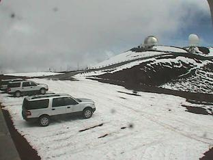Снег на горе вулкана Мауна Кеа