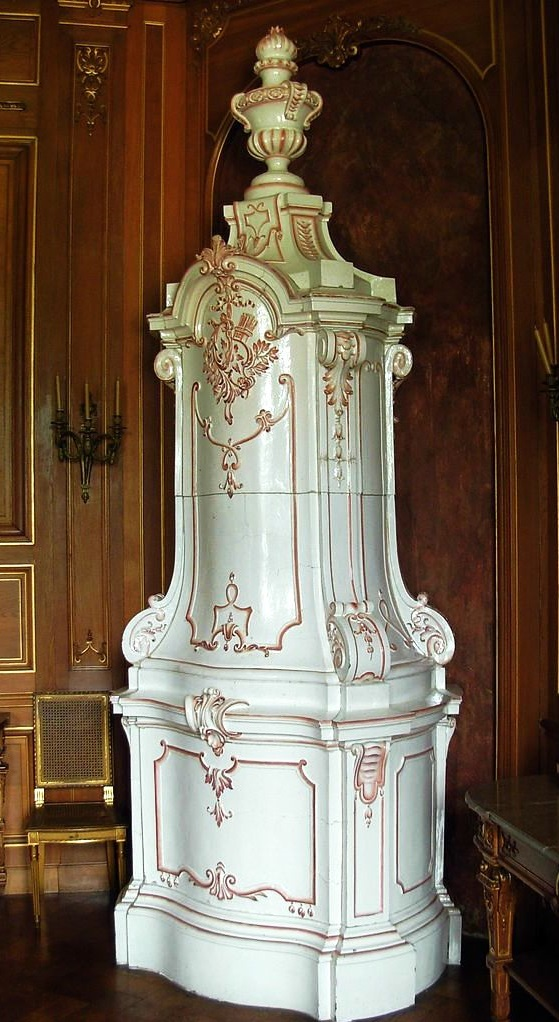 Ceramic stoves are traditional in Northern Europe an 18th-century faience stove at Ланцут Castle, Poland