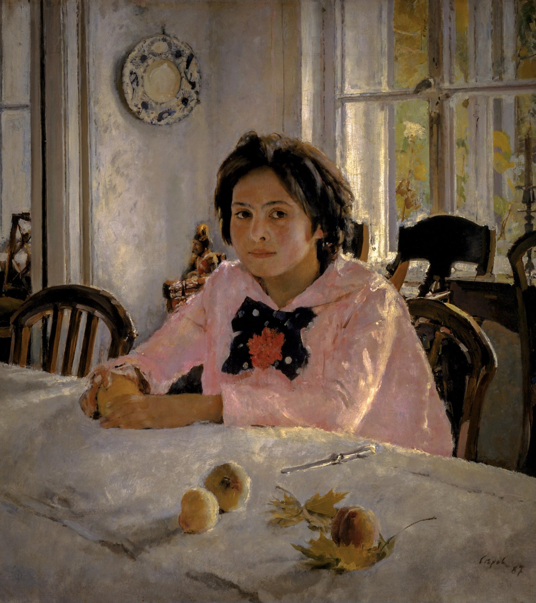 Картинка девочка с персиками, дети спят