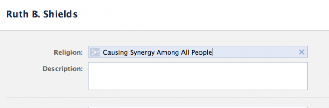 Screenshot of what your Noble Cause phrasing looks like after it has been added as the name of religion on Facebook