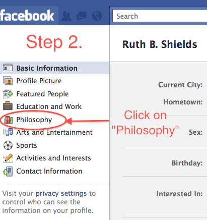 Screenshot showing location of link to Philosophy page which this article is teaching you to edit, with instruction to click on the Philosophy page's link