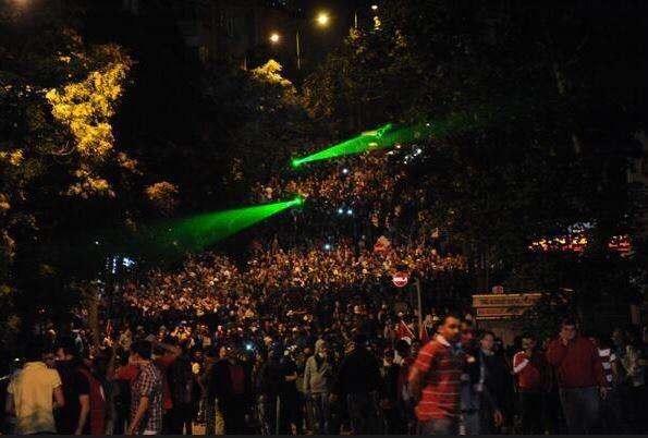 ten thousands on street in Ankara's Kenedy street