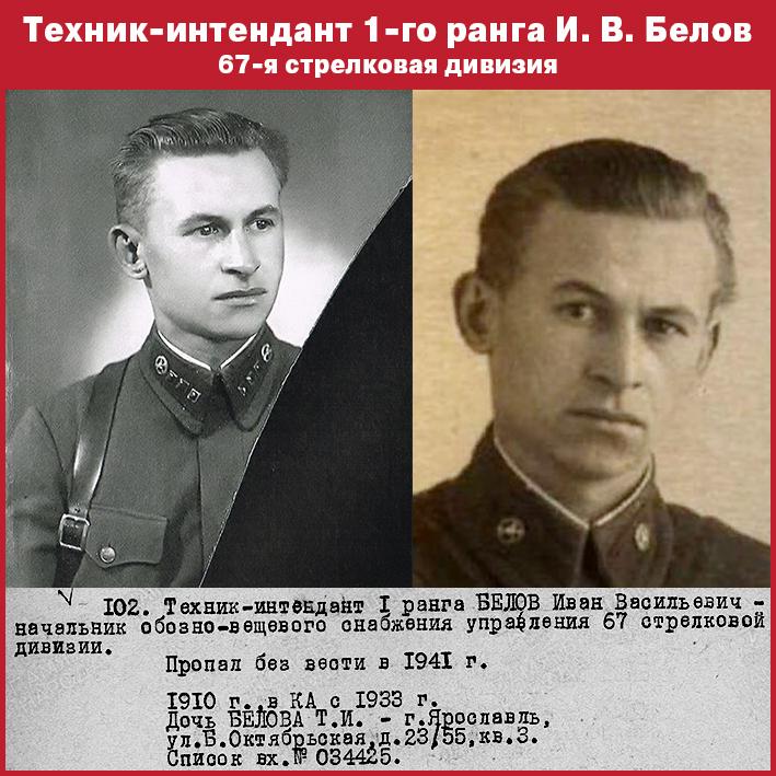 Иван Васильевич Белов, техник-интендант 1-го ранга