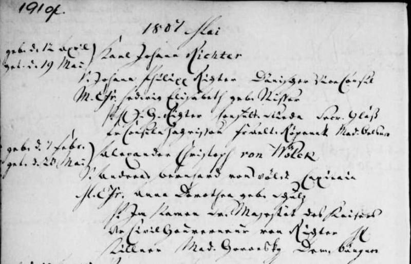 Запись о крещении Александра Кристофа фон Вёлька в церкви святого Якова в Риге 20 мая 1807 года.