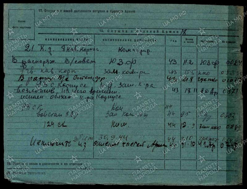 Учётно-послужная карточка гвардии генерал-майора Якунина, ОБД «Мемориал».
