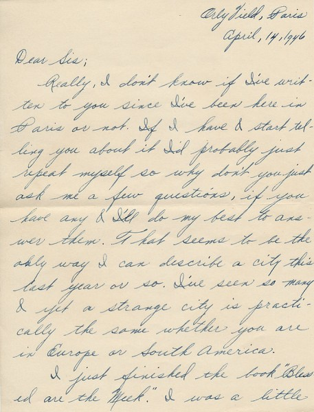 Letter from David to his sister Aileen from Paris during World War II. Page 1 of 6. Select the image for a larger view.