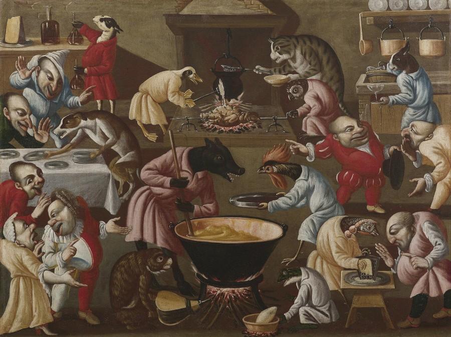 Гротескная сцена на кухне