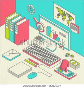 stock-vector-flat-d-isometric-computerized-technology-designer-workspace-infographic-concept-vector-252175837