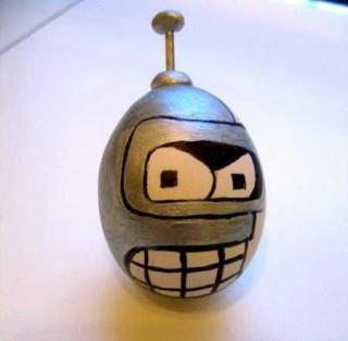 яйцо граната с глазами в стиле робота бендера из футурамы