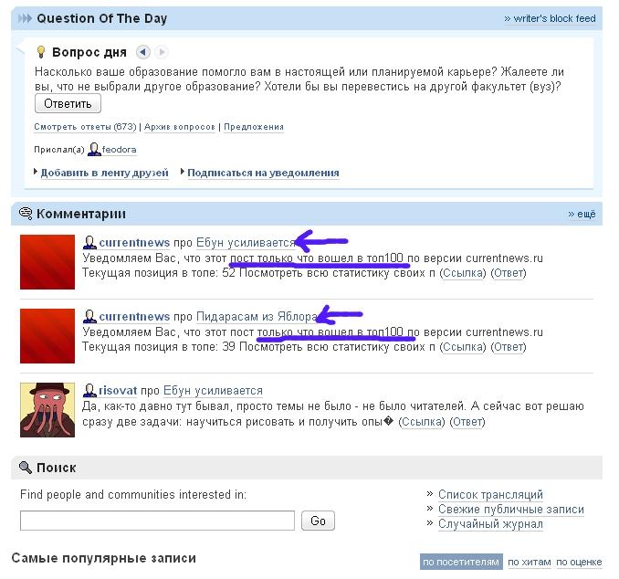 Рейтинг записей блоги