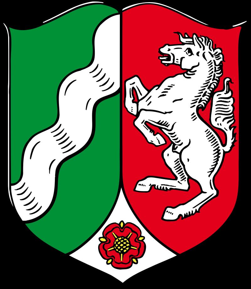 герб федеральной земли Се́верный Рейн-Вестфа́лия. Правая часть герба- как раз вестфальская