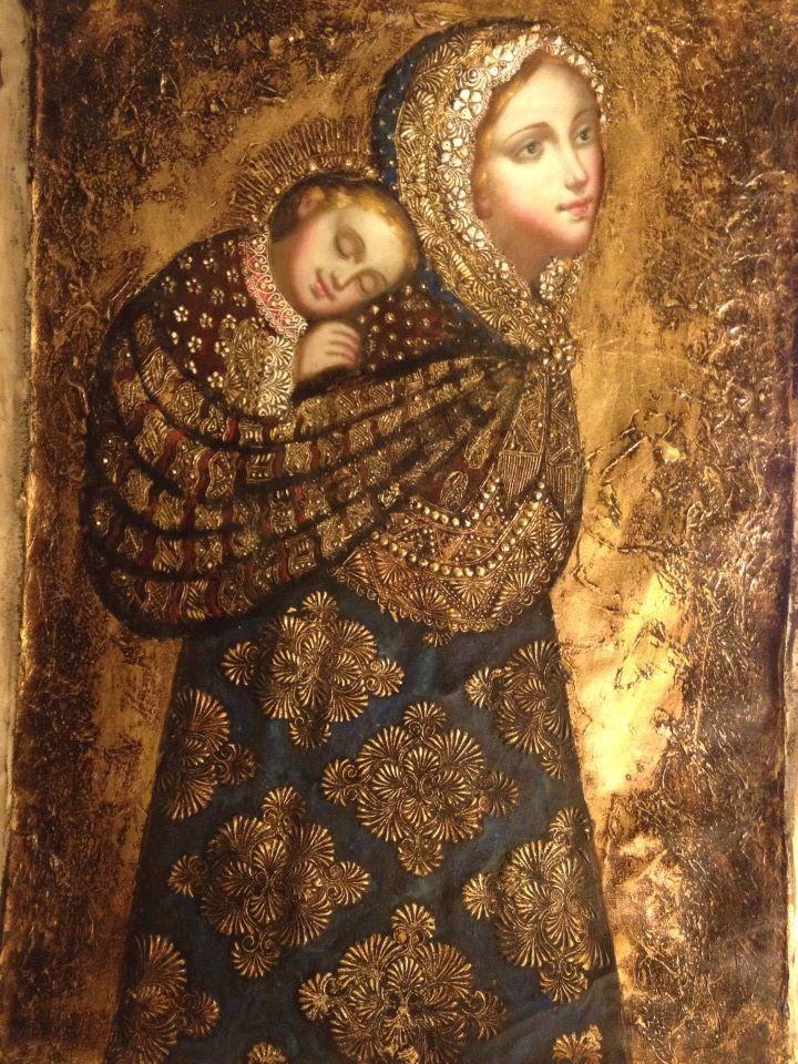 Andes Virgin & Child, Original Oil, Painting On Canvas By Artemio Coanqui.