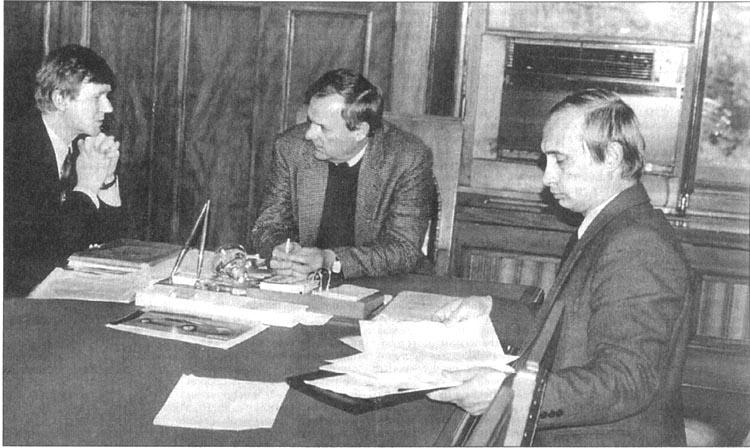 Слева направо: Чубайс, Собчак, Путин