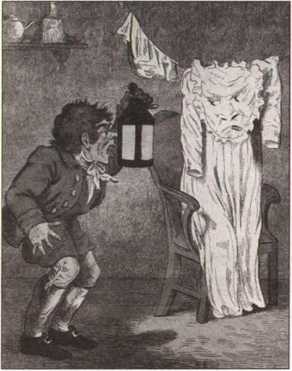 Читая старые газеты. Платье превратилось в привидение. Карикатура Исаака Крукшенка (1797)