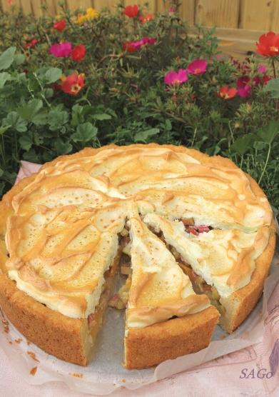 Пирог с ревенем и безе 010