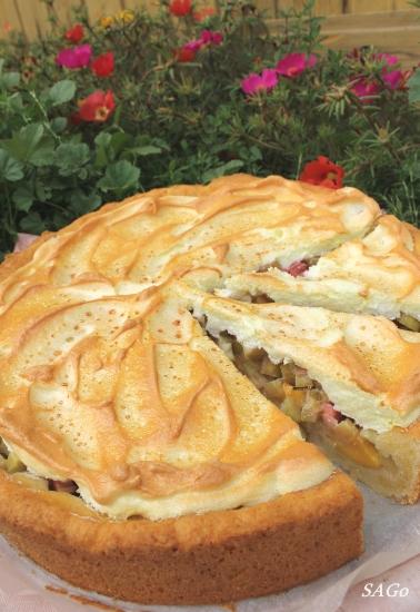 Пирог с ревенем и безе 014