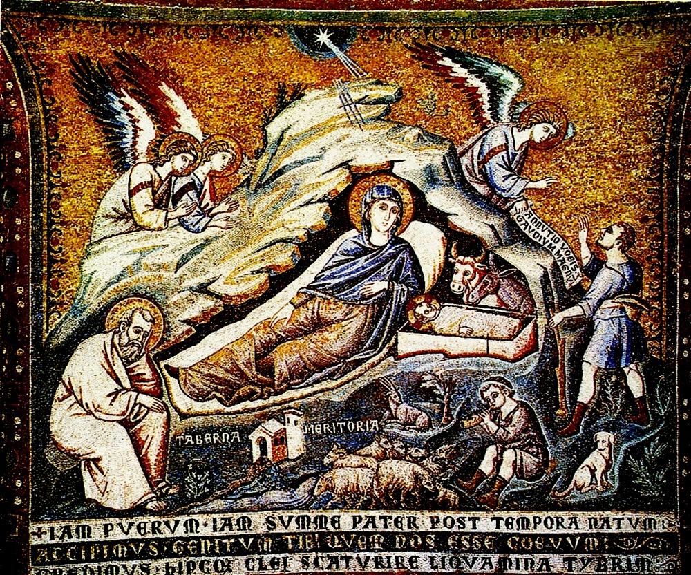 РОЖДЕСТВО ХРИСТОВО Пьетро Каваллини Церковь Cанта Мария ин Трастевере, Рим. мозаика, 1291 г.-2