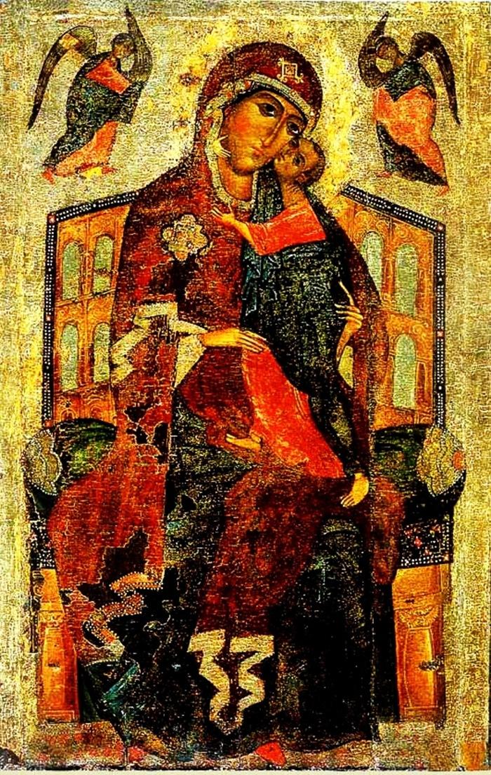 Икона Богоматери ТОЛГСКАЯ «На Троне».Ярославль.Конец XIII века.