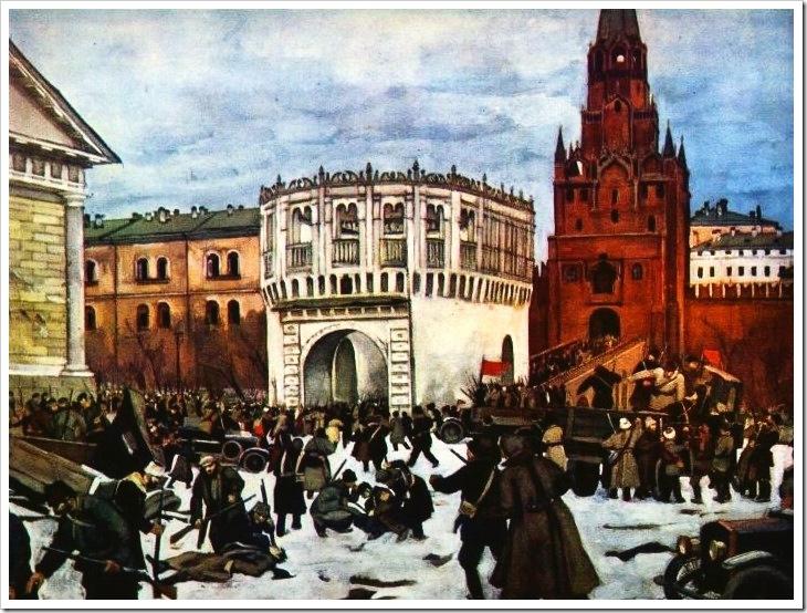 К. Юон. Вступление в Кремль через Троицкие ворота. 1927