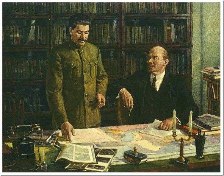 Д.Налбандян В.И.Ленин и И.В.Сталин за разработкой плана гоэлро