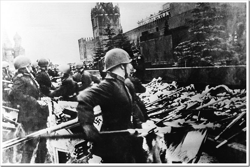 1945 год, Парад Победы. Воины-победители бросают знамена поверженной гитлеровской армии к подножию Мавзолея
