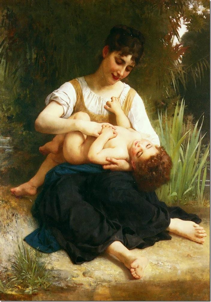 bouguereau_william_adolphe_ [The Joys of Motherhood (Girl Tickling a Child)]1874
