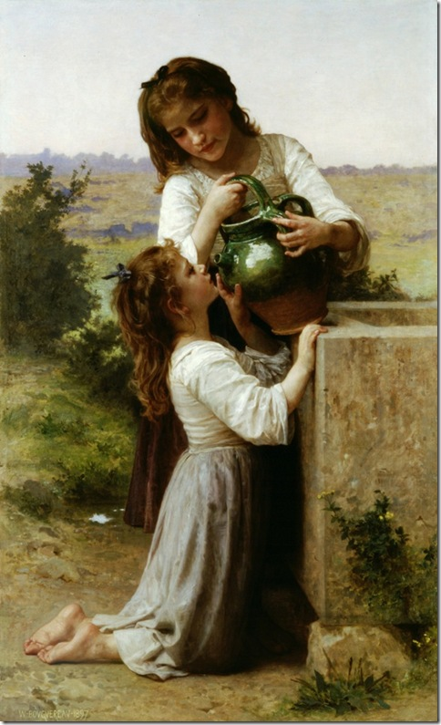 bouguereau$_william_at_the_fountain A la Fontaine [At the Fountain] 1897