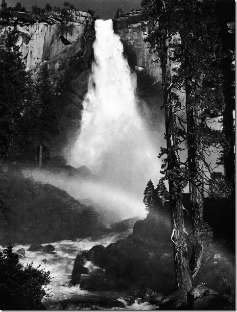 Nevada-Fall-Rainbow-Yosemite-1947   Ansel Adams,photo,sahallin,Ансел Адамс,фото