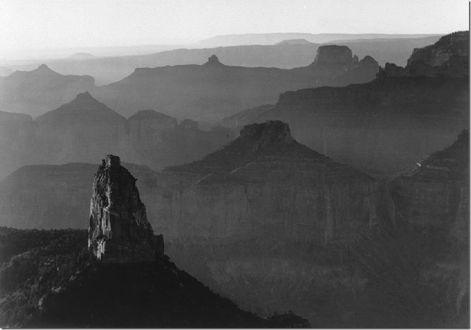 Grand_Canyon_panorama_with_rock_formation_ Ansel Adams,photo,sahallin,Ансел Адамс,фото