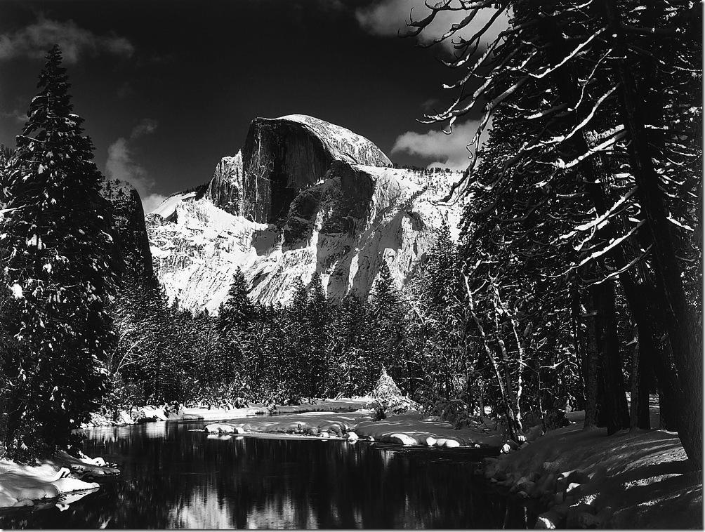 AnselAdams,Half Dome Merced Winter Yosemite National Park California 1938  Ansel Adams,photo,sahallin,Ансел Адамс,фото