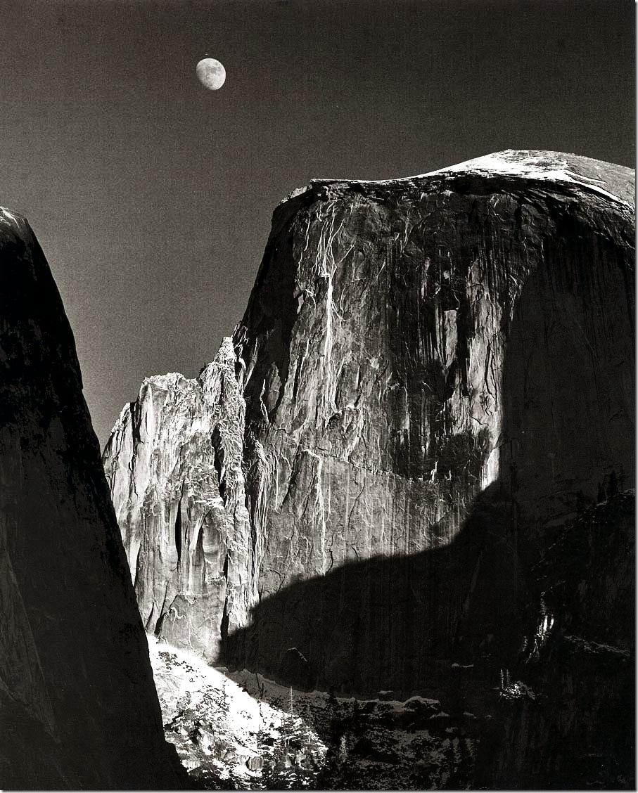 moon_and_half_dome  Ansel Adams,photo,sahallin,Ансел Адамс,фото