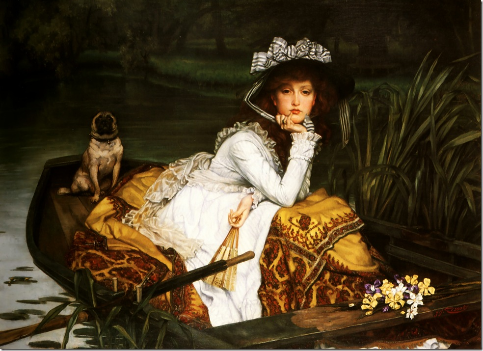 young_lady_in_a_boat-1870 Джеймс Тиссо,художник,картины,живопись,Англия,Франция,James Tissot,artist,pictures,painting,England,France