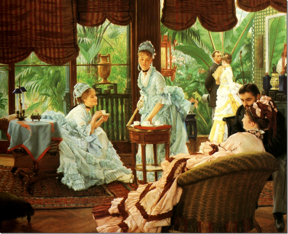in_the_conservatory-1875-78 Джеймс Тиссо,художник,картины,живопись,Англия,Франция,James Tissot,artist,pictures,painting,England,France,sahallin