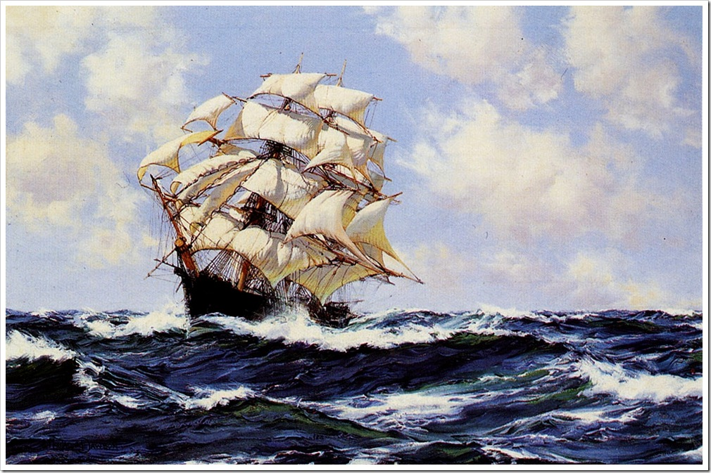 Montague Dawson (1895-1973)  swinging_along,_the_clipper_ship_the_racer
