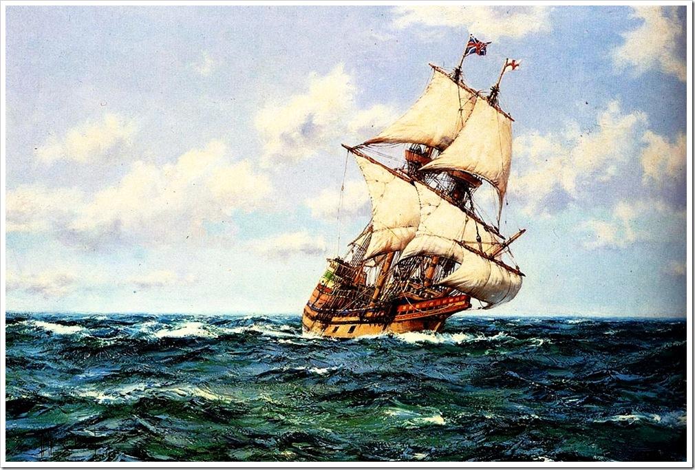 Montague Dawson (1895-1973)  mayflower_ii_on_the_open_seas