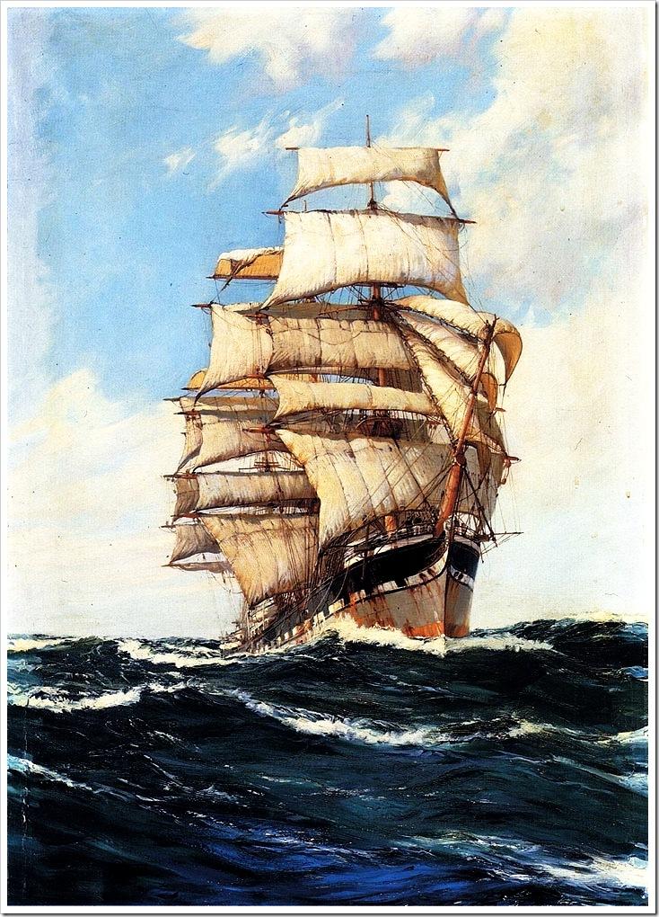 Montague Dawson (1895-1973)  the_clan_mcfarlane_on_high_seas