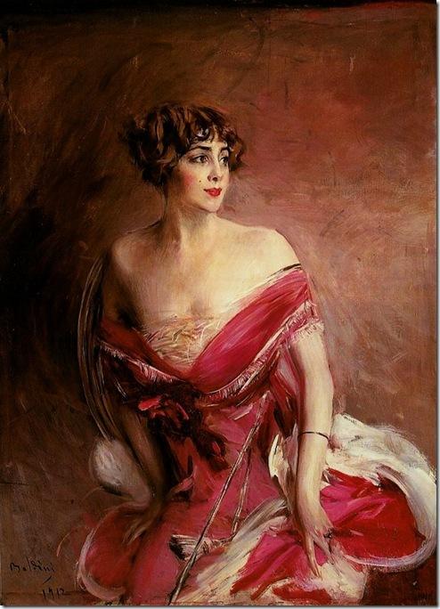 Boldini Giovanni Portrait of Mlle de Gillespie -La Dame de Biarritz 1912