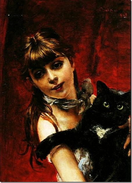 Boldini, Giovanni  Bambina con il Gatto Nero in Braccio 1885