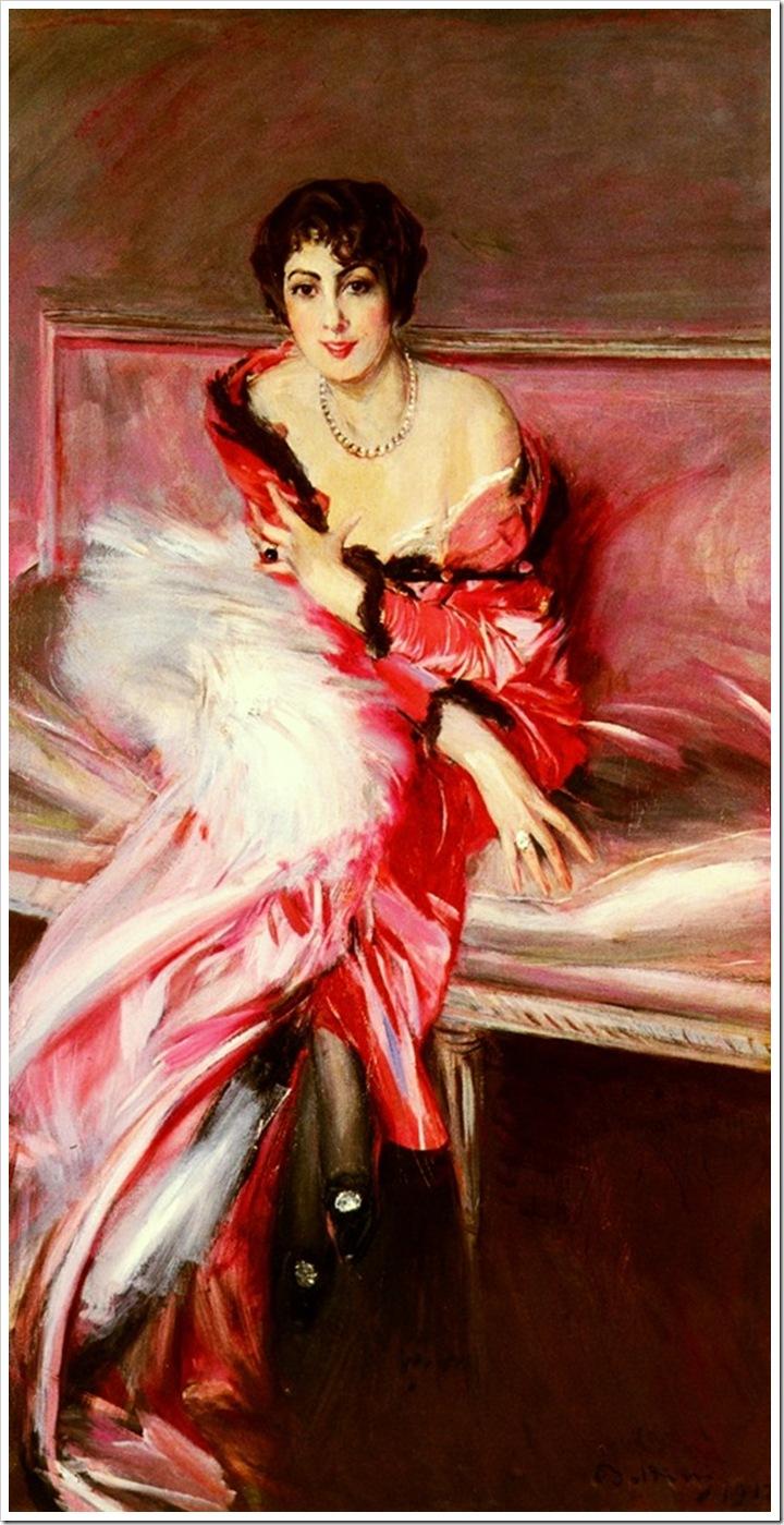 Boldini, Giovanni Portrait Of Madame Juillard In Red 1912