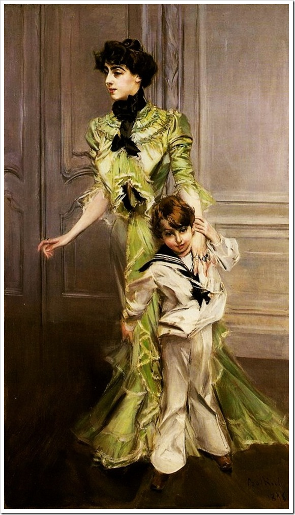 Boldini, Giovanni  Madame Georges Hugo Jeanne Hugo and Her Son 1898