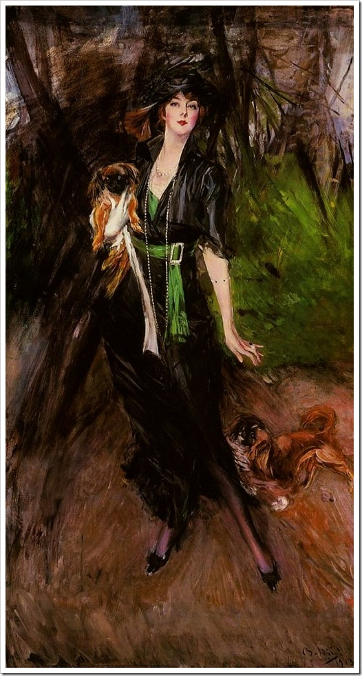 Boldini, Giovanni  Lina Bilitis with Two Pekinese 1913