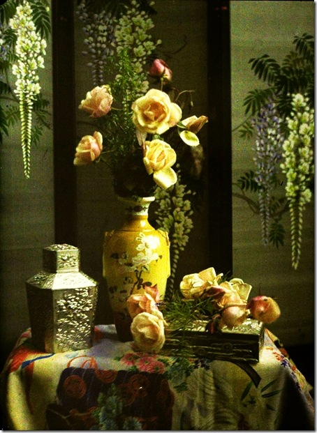 Charles Corbet, Still life with vase and roses - c. 1910, autochrome 12 x 9