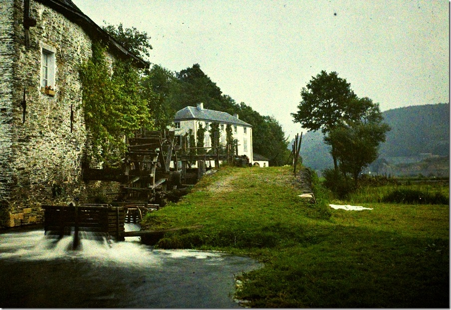 Remi Verstreken, Watermill on the Semois Belgium, c.1913, autochrome 9 x 12