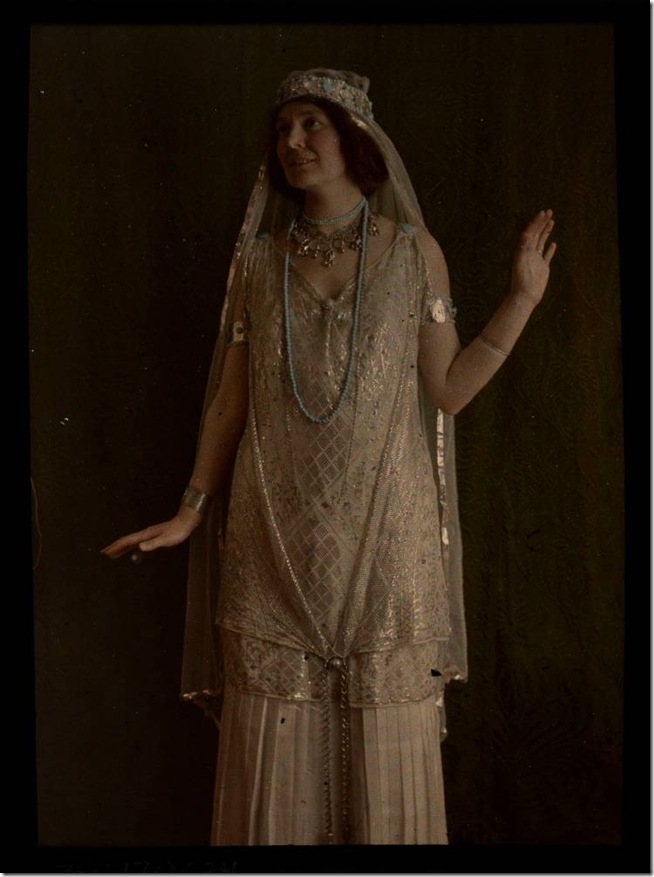 Woman in gold costume