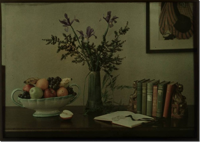 Still-life with fruit bowl, flowers and books