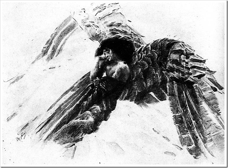 Демон летящий. Черная акварель1890-91