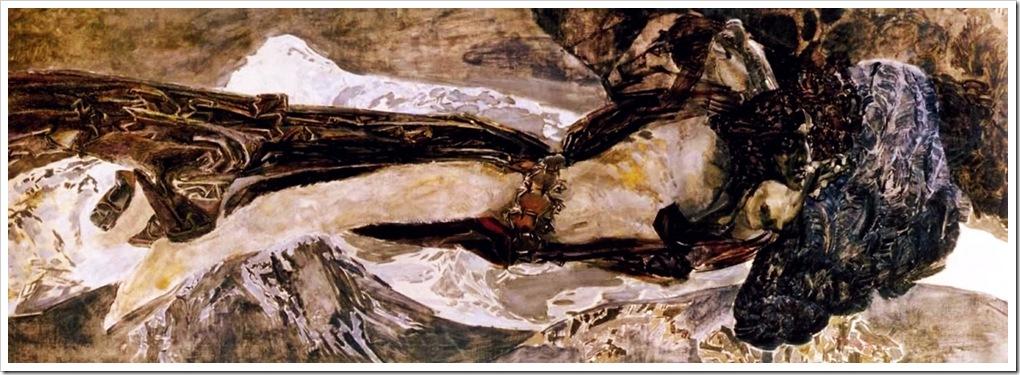 Врубель Михаил Александрович. Летящий Демон. 1899г. ( неоконченная картина )