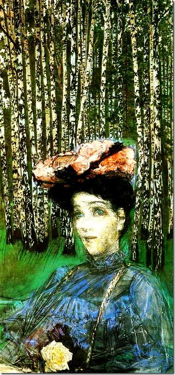 Врубель Михаил Александрович. Портрет Н.И.Забелы-Врубель на фоне березок. 1904г.