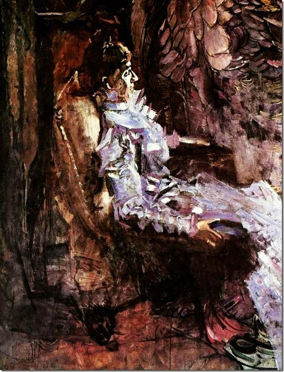 Врубель Михаил Александрович. Портрет дамы в лиловом (Жена художника). 1901г.